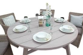 round rattan dining set 6 seater table furniture outdoor grey