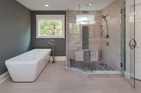 contemporary master bathroom with shower specialty