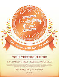 Thanksgiving Invitations Templates Free Thanksgiving Dinner Invitation Template Stock Vector Image 57331946