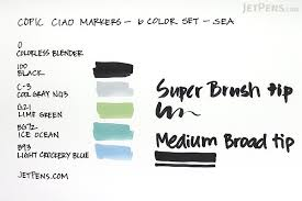 copic ciao marker 6 color set sea jetpens com