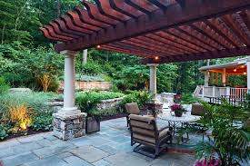 Faux Stone Patio by Dining Room Contemporary Pergola Ideas With Flagstone Patio And