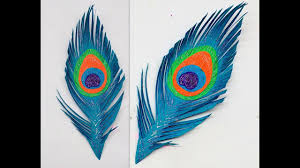diy how to make easy paper peacock feather youtube
