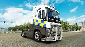 volvo truck trailer police skin for volvo truck for euro truck simulator 2