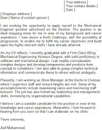 mechanical engineer cover letter example mechanical engineer