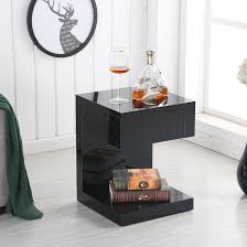 High Gloss Side Table Dixon Bedside Table In Black High Gloss With 1 Drawer 28934