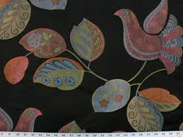 drapery fabric upholstery fabric black birds fabric animal