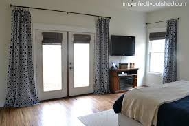 Master Bedroom Double Doors No Sew Pinch Pleat Curtains