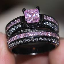 black and pink wedding ring sets new jewelry engagement 10kt black gold filled pink gem 5a zircon