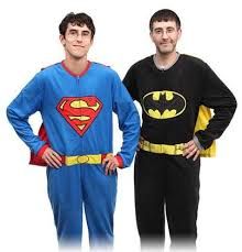 caped sleepwear superman and batman pajamas