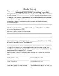 examples of cleaning contracts cleaning contract template 27 word