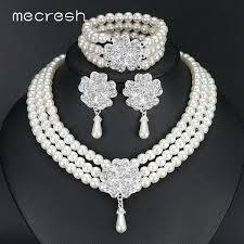 earring necklace sets wedding images Mecresh round imitated pearl dubai bridal jewelry sets statement jpg
