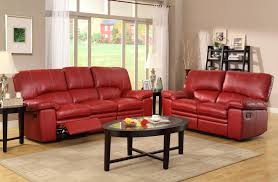 red leather reclining sleeper sofa in light brown living room