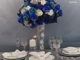 blue beauty diy tall wedding centerpiece