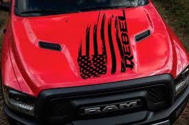 American Flag On Truck Product Distressed American Flag Dodge Ram Rebel Hood Logo Truck