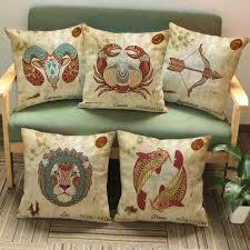 Armchair Cushion Covers Vintage 12 Signs Zodiac Capricorn Aquarius Pisces Decorative