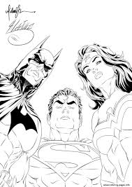 batman superman wonder woman looking at you for coloring