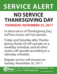 soltrans service alert no service thanksgiving day