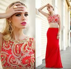elegant red long prom dress 2 piece prom dress beaded prom dress