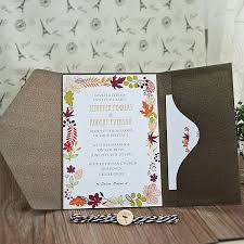 wedding invitation pocket wood button rustic maple leave fall pocket wedding invitations
