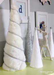a turquoise blue and silver christmas cone trees silver
