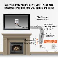 hiding wires on wall mounted tv above fireplace extension kit