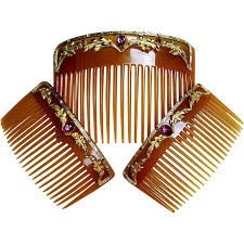 antique hair combs antique hair comb set three horn embellished hair the