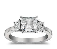 2 5 Cushion Cut Diamond Engagement Ring Trapezoid Diamond Engagement Ring In Platinum Blue Nile