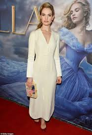 lily james flashes hint cleavage disney cinderella screening