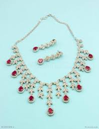 diamond ruby necklace sets images Buy beautiful ruby red cz ad american diamond necklace set online jpg