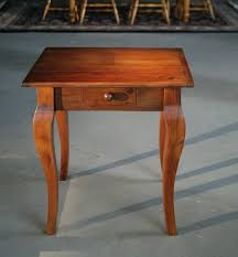 barnwood furniture square end table with drawer in brown cherry