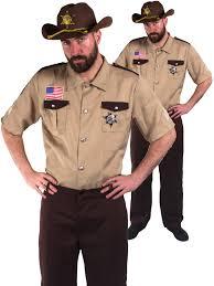 Zombie Hunter Halloween Costume Sheriff Marshall Costume Men Deputy Police Fancy Dress