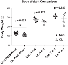 long lived crowded litter mice have an age dependent increase in