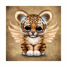 baby tiger cub with wings prints by jeff bartels