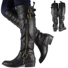 womens leather biker boots sale womens black knee high leather style flat low heel