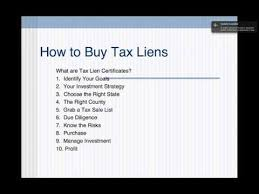 how to buy tax liens and tax lien certificates youtube