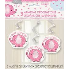 Elephant Decorations Pink Elephant Baby Shower Hanging Decorations 3pk Walmart Com