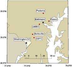 washington dc region map map of the baltimore washington dc region with the locations