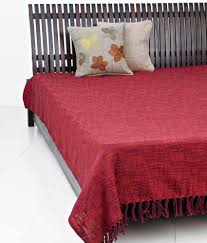 fabindia red plain cotton woven chaman bed cover double buy