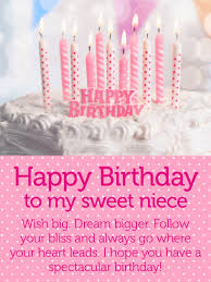 A Happy Birthday Wish Have A Spectacular Day Happy Birthday Wishes Card For Niece