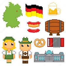 german culture symbols icons set stock vector dergriza 107832956