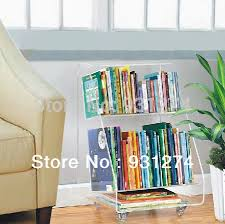 rolling acrylic bookcase 2 tiers clear plexiglass living room
