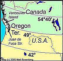 map of oregon country 1846 fifty four forty or fight the u s canada boundary