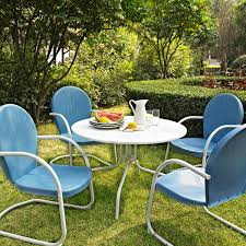 Old Fashioned Metal Outdoor Chairs by Furniture Retro Metal Patio Chairs Colored Blue And White Over