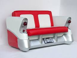 stylish retro classic red and white seater with old cars cool