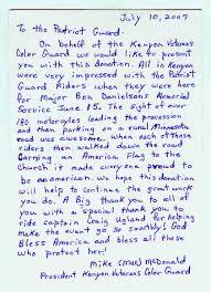 Thank You Letter Veterans patriot guard