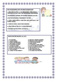 Connectives And Conjunctions Worksheets And But Or So Because Worksheet Free Esl Printable