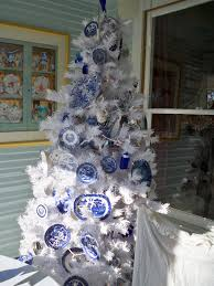 white and blue christmas trees christmas lights decoration