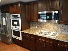 Wood Kitchen Cabinets by Kitchen Brown Cherry Wood Kitchen Cabinet Ideas With Cream