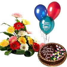 chocolate gifts delivery singapore in arrangement of gerberas in mix colour with 1 kg chocolate cake and