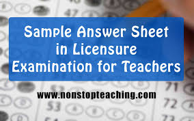 prc sample answer sheet for licensure examination for teachers